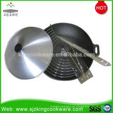 Wok redondo do ferro fundido chinês para a venda