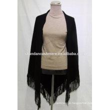 Moda malha Fringe Hem Casaco de inverno personalizado, 100% Cashmere Triangle Scarf
