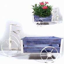 Metal Garden Decoration Clean White Triciclo Wooden Carriage Flowerpot Craft