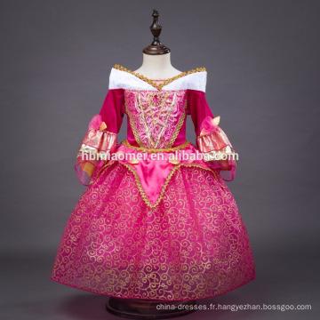 2016 filles longue partie porter dormir beauté Aurora princesse robe costume
