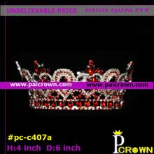 Red Teardrop Round Queen Pageant Tiara Crown
