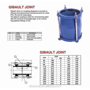 Joint de Gibault en fonte ductile (utilisé pour les tuyaux en pvc ou en acier)