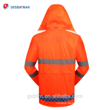 Oxford PU recubierto a prueba de agua reflectante de seguridad con capucha Rainsuit Hola Vis Rain Jacket