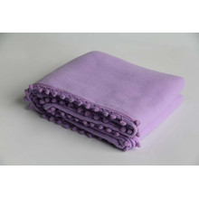 100% Polyester Fleece Blanket with Lace/ Fleece Ball /Laser Punching Blanket