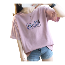 T-shirts en coton à manches courtes imprimés pour femmes