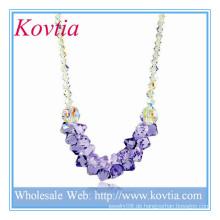 HEISSER VERKAUF Kristall und lila Kristall nigerian Hochzeit Perlen Halskette in 925 Sterling Silber Schnur