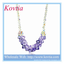 HOT SALE crystal and purple crystal nigerian wedding beads necklace in 925 sterling silver cord