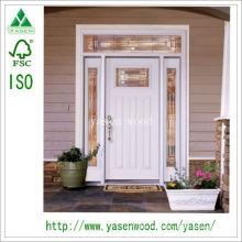 Puerta de entrada de madera maciza no estándar blanca