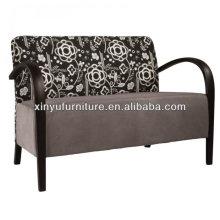 Soild bois avec couverture en tissu 2 places assise canapé d'hôtel XY3376