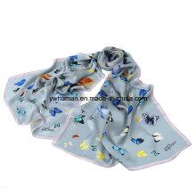 Dame 100% reiner Silk Butterfly Gedruckter langer Schal