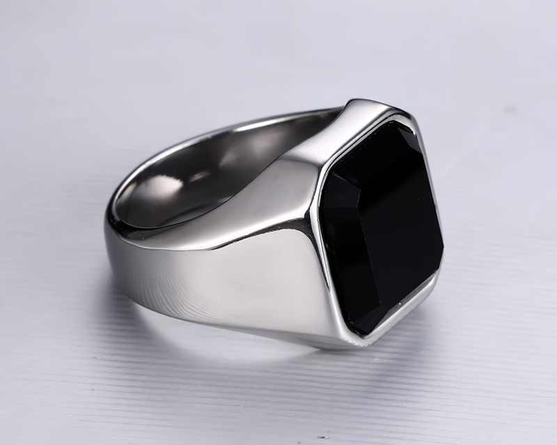 Men's Stainless Steel Gemstone Black Agate Stone Ring
