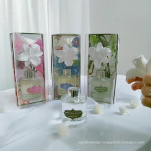 silver lid 100ml round clear glass bottle ceramic flower diffuser in box