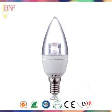 Bombilla barata de la vela de la fábrica de Transparement C37 LED con Daylight E14