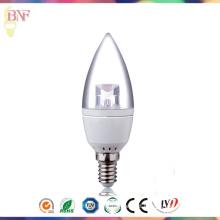 Bulbo barato da vela da fábrica do diodo emissor de luz de Transparement C37 com luz do dia E14