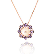 White MOP Amethyst CZ Rose Gold Pendant