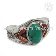 Fantabulous coral turquesa gemstone bracelete de prata 925 prata esterlina joalheria jóias atacadista
