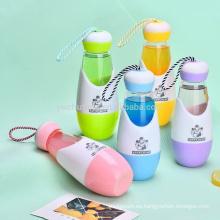 BPA botella de agua preciosa forma de bola de boliche botella de agua con mango de cuerda