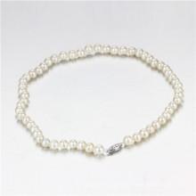 Snh 7-8mm runde Form AA-Creme Braut Perle Halskette