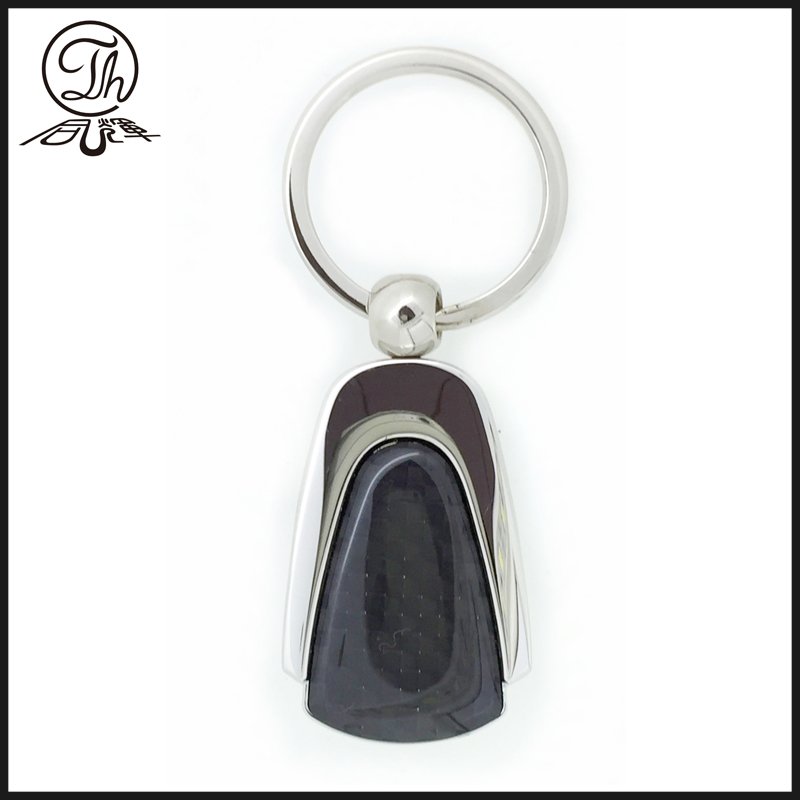 Black Transparent carbon fiber keychain metal