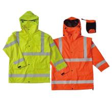 Hi-vis waterproof rain coat with reflective tape.