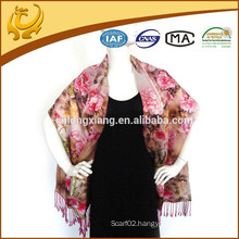 2015 HOT Sale Chinese Lady Double-Side Flower Pashmina Wrap Custom-made Printed Shawls