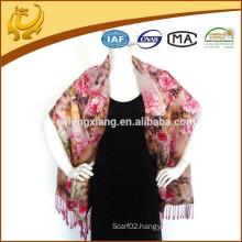2015 HOT Sale Chinese Lady Double-Side Flower Pashmina Wrap Custom-made Printed Shawls