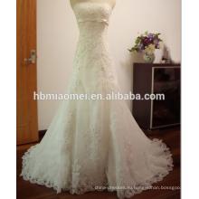 Фабрика конфетка поставки зашнуровал тяжелые бисером небольшой хвост свадебное платье кружева свадебное платье