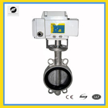 "4"" stainless steel electric butterfly valve 24v wafer type 220v 50HZ rubber seal"
