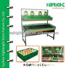 supermarket fruits and vegetables shelves