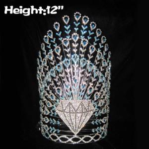 Coronas de cristal de pavo real de 12 pulgadas de altura con diamantes