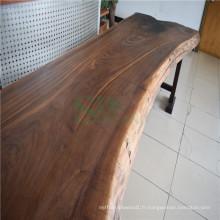 Plateau de Table Surface solide de noyer noir avec acier sous