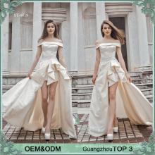 Simple wedding dresses gowns sexy high slits bride dress silky satin wedding dress bridal gown