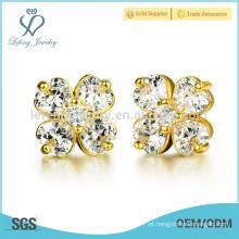 18k brincos de flor banhado a ouro, brincos de cobre brincos jóias