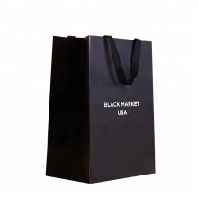china supplier reusable foldable packing with logo printing black paper shopping bag