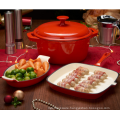 3 pc Cast Iron Dishes Set Casserole Gratin Gridddle Oven Table Cook Red
