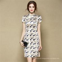 Luxury fashion winter elegant evening dress sexy flora velvet short chi-pao qipao dress cheongsam