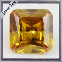 Amarelo princesa corte quadrado cubic zircônia pedra preciosa para jóias
