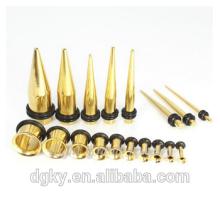 Gold Plated Ear Plug Stretcher Acero Quirúrgico Expansor Oro Joyas