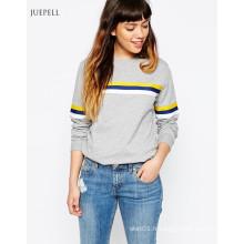 Sweatshirt à manches courtes Sweatshirt à capuche femme avec bande