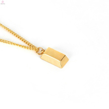 Custom Gold Brick Bar Bullion Personalize Necklace
