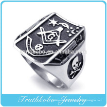 Professional Stainless Steel Jewelry Supplier 2014 Hot Sale Embossed Stamp Freemason Masonic 316L Stainless Steel Band Mens Ring