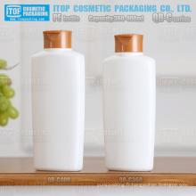 QB-C série 360ml 400ml forme ovale mat blanc PEHD plastique bouteille de shampoing avec couvercle basculant