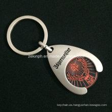 Trolley personalizado moneda llavero con Logo de empotrar con acabado de níquel de Matt para promoción