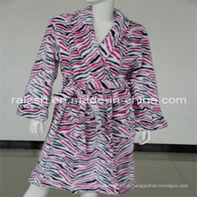 Zebra Printed Coral Fleece Bathrobe