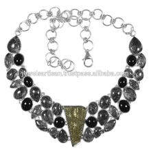 Pyrite And Multi Gemstone 925 Sterling Silver Necklace Jewelry