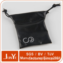 Manufacturer black leather drawstring pouches bag