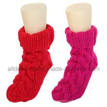 Atacado 100% mão tricotado piso interior socks chinelos
