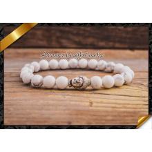 Blanco pulseras de turquesa joyas de Howlite Buda DIY (CB040)