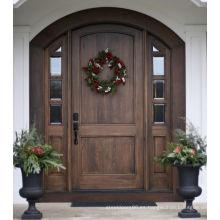 Juego de puerta de madera con frente de roble Puerta de entrada con puerta de vidrio exterior