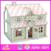 2014 nouveaux jouets en bois de maison de poupée d'enfants, maison de poupée en bois de beaux enfants populaires, princesse en bois de poupée Beartiful W06A041 en bois
